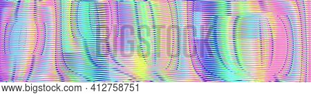Pastel Iridescent Abstract Holographic Background With Wavy Lines And Soft Glow Effect. Multicolored