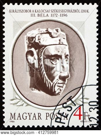 Hungary - Circa 1986: A Stamp Printed In Hungary Shows Portrait Of Bela Iii, Hungarian King 1172-119