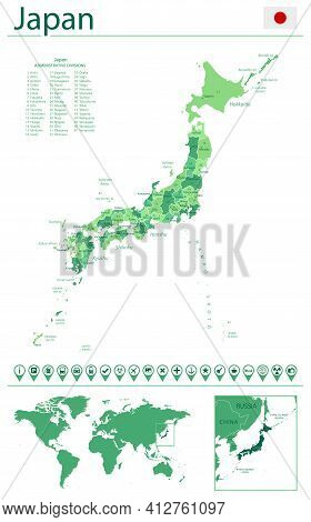 Japan Detailed Map And Flag. Japan On World Map.