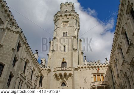Hluboka Nad Vlavou Castle, Czech - April 25, 2012: This Is A View Of The Main Tower Of The Castle Fr