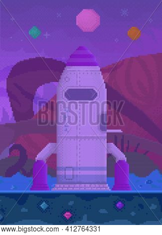 Pixelated Rocket Standing On Unknown Purple Planet. Combat Pixel Aircraft For Alien Transportation