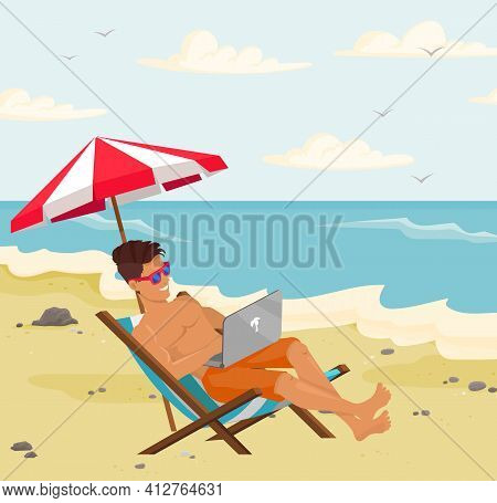 Busy Guy In Sun Lounger Is Working On Laptop Remotely. Man Freelancing And Tanning At Resort