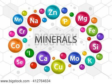 Mineral Supplement Set. Multivitamin Complex For Health. Vitamin Icons. Calcium Magnesium Zinc Iron