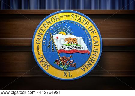 Seal of the governor of the State of California on the tribune, Press conference of governor concept. 3d illustration