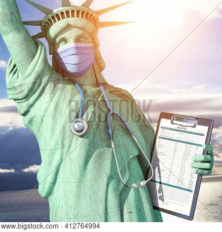 Healthcare system in USA United States concept. Statue of Liberty as doctor with  surgical mask, stethoscope and medical analysis.  3d illustration