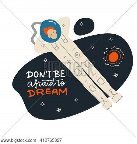 Funny Astronaut Is Resting In Space. Lying Cosmonaut Man Character Design. Vector Flat Cartoon Illus