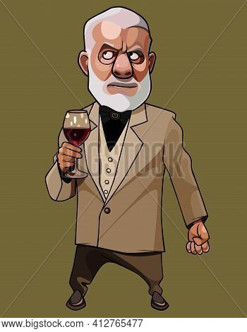 Cartoon Elegantly Dressed Gray Haired Man Standing With Glass In His Hand