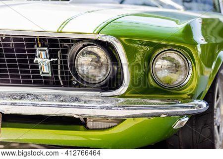04.02.2021 California, Usa. Retro Muscle Car Chevrolet Camaro Light Green Color. Close Up.