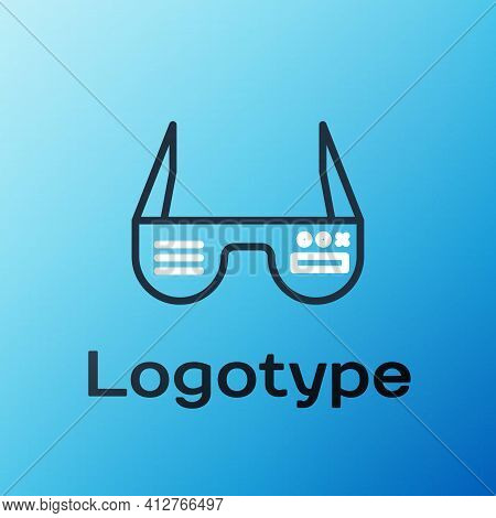 Line Smart Glasses Mounted On Spectacles Icon Isolated On Blue Background. Wearable Electronics Smar