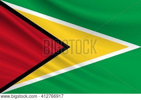 Flag Of Guyana. Fabric Texture Of The Flag Of Guyana.