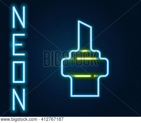 Glowing Neon Line Wooden Cork For Wine Icon Isolated On Black Background. Colorful Outline Concept.