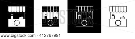 Set Street Stall With Awning And Wooden Rack Icon Isolated On Black And White Background. Kiosk With