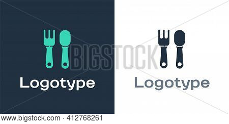 Logotype Fork And Spoon Icon Isolated On White Background. Cooking Utensil. Cutlery Sign. Logo Desig