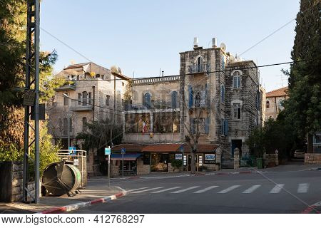 Jerusalem, Israel, February 27, 2021 : Evening View Of The Building Of The Czech Embassy In The Old