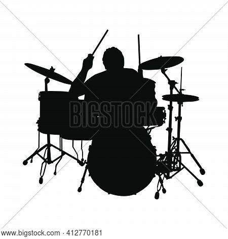 Rock Drummer Silhouette. Black Color Design Fine And Clean Path. Very Smooth And High Detailed Rock