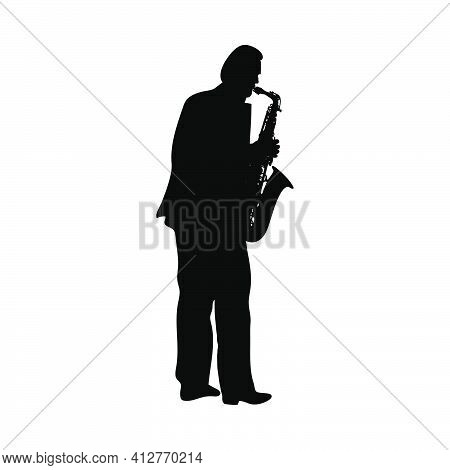 Saxophonist Silhouette. Black Color Design Fine And Clean Path. Very Smooth And High Detailed Saxoph