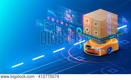 Smart Warehouse Technology. Automated Robot Delivers An Order Box In Smart Automated Warehouse. Dron