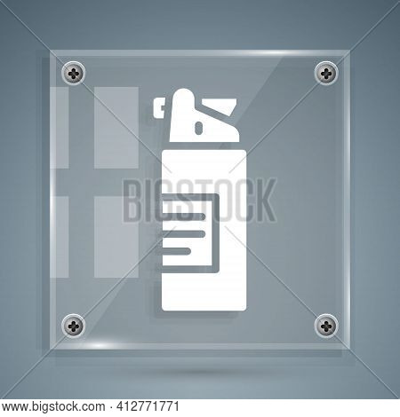 White Weapons Oil Bottle Icon Isolated On Grey Background. Weapon Care. Square Glass Panels. Vector
