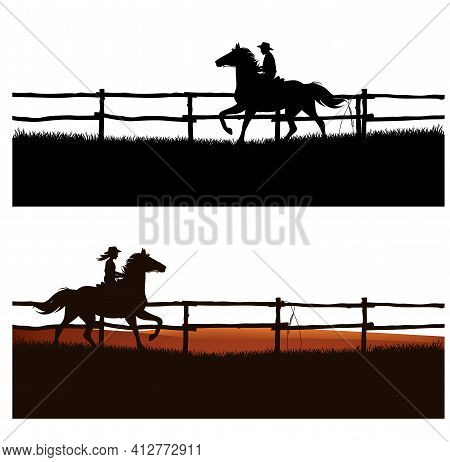 Boy And Girl Wearing Cowboy Hats Riding Running Horses Behind Wooden Paddock Fence - Ranch Kids Vect