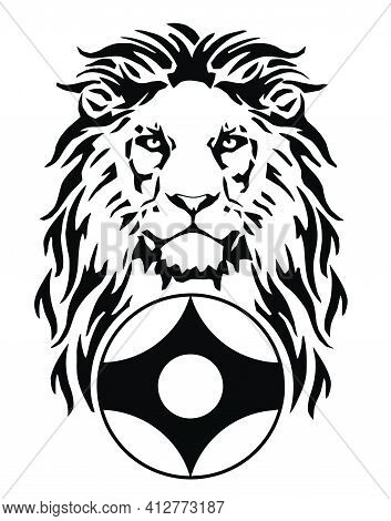 The Lion And Karate Kyokushin Kanku Original Simbol Emblem, Drawing For Tattoo, On A White Backgroun