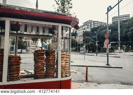 Turkish Bagels In Concession Stand On Urban Street, Istanbul, Turkey.
