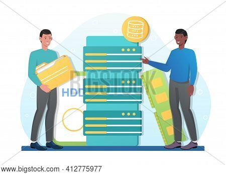 Two Male Characters Are Working On Big Data Together. Concept Of Coworking. Smiling Man Is Holding B