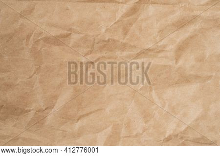 Close Up Crumpled Brown Paper Texture And Background With Copy Space