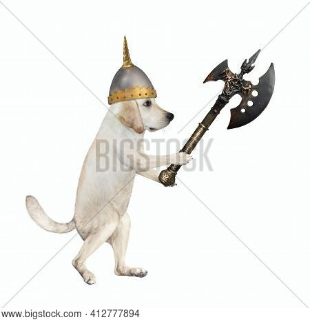 A Dog Labrador Warrior In A Helmet Fights With A Battle Axe. White Background. Isolated.