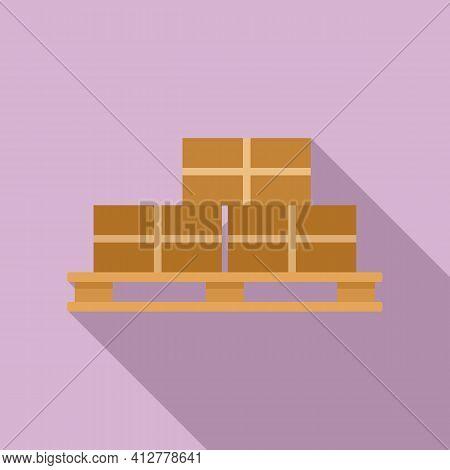 Parcel Pallet Icon. Flat Illustration Of Parcel Pallet Vector Icon For Web Design