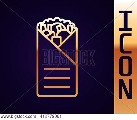 Gold Line Doner Kebab Icon Isolated On Black Background. Shawarma Sign. Street Fast Food Menu. Vecto