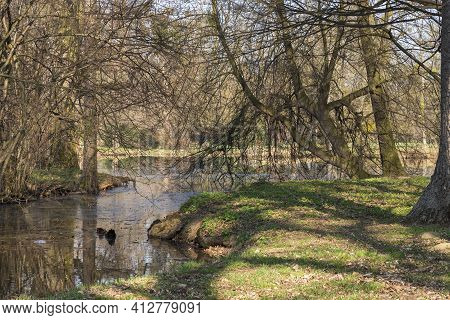 Park With A View Of The Pond. Around The Pond Are Trees That Are Reflected In The Water. The Backgro