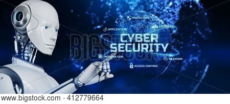 Cyber Security Data Protection Antivirus Technology Concept. Robot Pressing Button On Screen 3d Rend