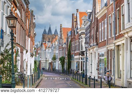 Street With Historical Houses In Haarlem City Center, Netherlands