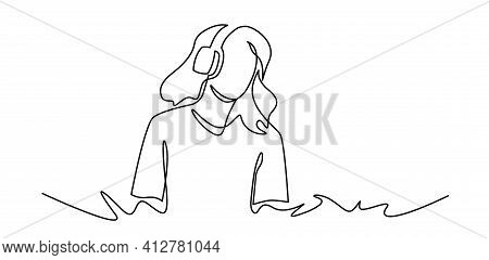 Continuous One Line Drawing Of Young Woman Listens To Music. Dj Girl With Earphones. Lifestyle Teean