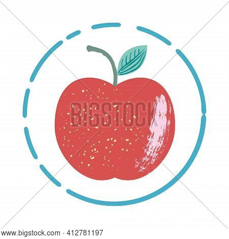 A Simple Hand Drawn Icon With Textured Apple Vector Illustration. Stylized As A Pictorial Sketch, Is