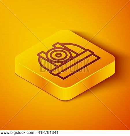 Isometric Line Astronomical Observatory Icon Isolated On Orange Background. Observatory With A Teles