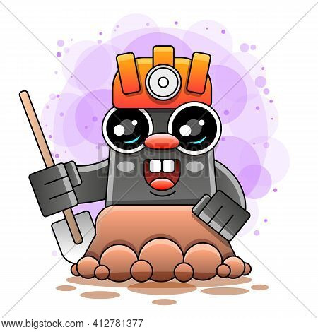 Cartoon Funny Mole Wearing Helmet And Glasses