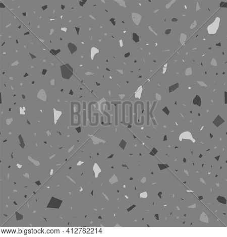 Terrazzo Seamless Pattern. Black And White Classic