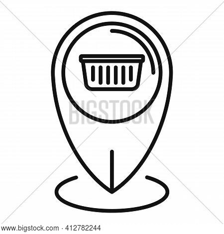 Shop Gps Pin Icon. Outline Shop Gps Pin Vector Icon For Web Design Isolated On White Background