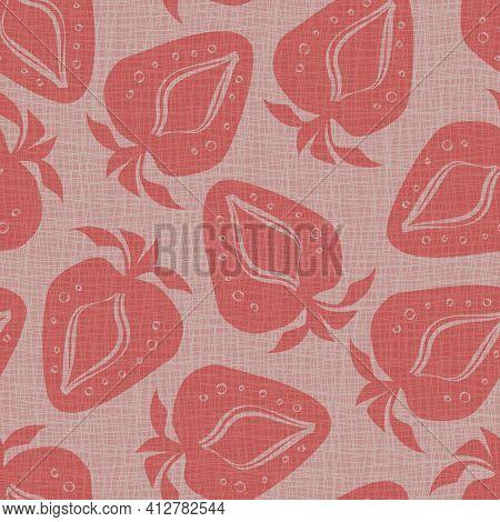 Linocut Print Strawberries Linen Vector Seamless Pattern Background.soft Fruit Motifs Blended Onto H