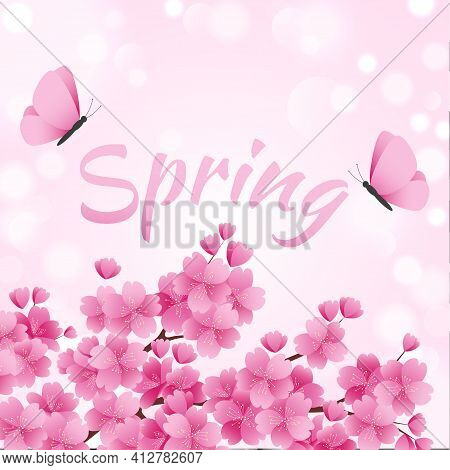 Blooming Beautiful Pink Spring Sakura, Flying Butterflies And Calligraphic Inscription. Vector Illus