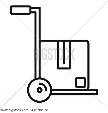 Warehouse Cart Icon. Outline Warehouse Cart Vector Icon For Web Design Isolated On White Background