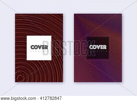 Hipster Cover Design Template Set. Orange Abstract
