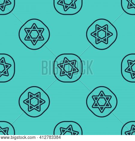 Black Line Tarot Cards Icon Isolated Seamless Pattern On Green Background. Magic Occult Set Of Tarot