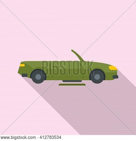 Hybrid Cabriolet Car Icon. Flat Illustration Of Hybrid Cabriolet Car Vector Icon For Web Design