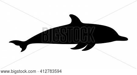 Dolphin Graphic Icon. Swimming Dolphin Sign Isolated On White Background. Dolphin As Sea Life Symbol