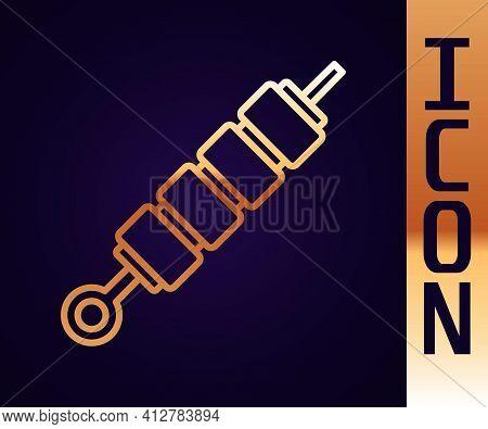 Gold Line Grilled Shish Kebab On Skewer Stick Icon Isolated On Black Background. Meat Kebab On Skewe