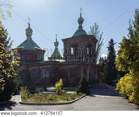 Old Wooden Building Of The Church Of The Life-giving Trinity In The City Of Karakol In Kyrgyzstan. T