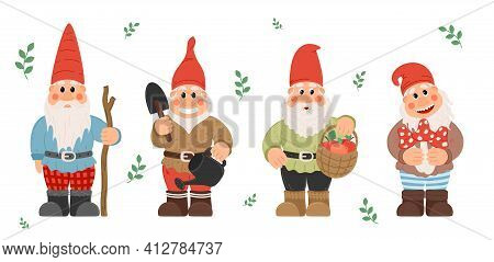 Collection Of Garden Gnomes Or Dwarfs Holding Lantern, Banner, Mushroom, Watering Can. Fairy Tale Gn