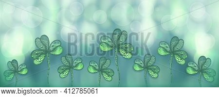 Abstract St. Patrick's Day Background Decorated With Shamrocks. Green Background With Shamrock Clove